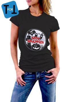 HAPPY HALLOWEEN! T-shirt noir pour les célébrer Halloween - Tshirt femme de la boutique teeFORtea sur Etsy