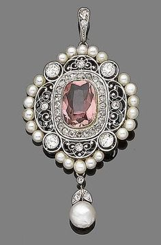 A belle époque pink tourmaline, pearl and diamond pendant, circa 1900.