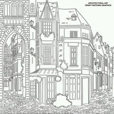 Adult colouring buildings houses cityscapes landmarks on for The terrace house book
