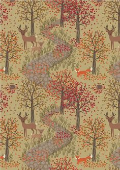 As the nights draw in and the frost takes hold, all of the animals find shelter in Bluebell Wood. The hedgehogs are ready for a big sleep beneath the leaves and nature prepares for Winter.... 'Autumn in Bluebell Wood' Available in all good fabric shops and stores from August 2017.