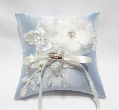 Wedding Ring Pillow Cream Satin Organza Blossom on Pale by mirino, $40.00