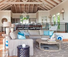 Like the couch, maybe for basement  Mimi and Hill Interiors - House of Turquoise