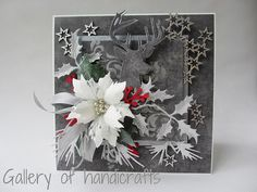 Gallery of handicrafts: Srebrne gwiazdki Christmas Paper Crafts, Homemade Christmas Cards, Homemade Cards, Handmade Christmas, Poinsettia Cards, Christmas Poinsettia, Crochet Christmas, Christmas Angels, Christmas Christmas