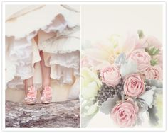 Wedding Inspiration: a charming wedding, all soft lace and pastel.  Colors and fabrics would make an interesting transition into decorating a baby's room.