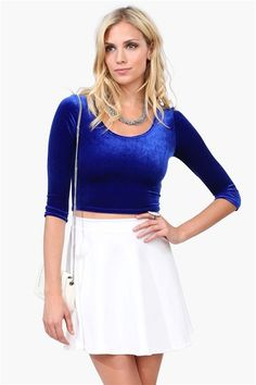 http://www.necessaryclothing.com/ Model, Velvet Crop Top in Royal Blue, 10/8/2013