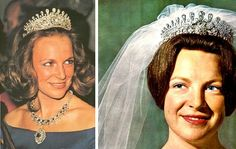 """(Lost) Princess Irene of The Netherlands wears a Bourbon Parma family tiara to marry Carlos-Hugo de Bourbon Parme in 1964. The tiara belonged to his mother, Infanta Maria Antonia of Portugal. The centerpiece could be changed to a large ruby. Unfortunately it has been lost since 1996. It was entrusted to an attorney's office by Pss. Marie-Cécilie of Bourbon-Parma while succession procedures took place. Mysteriously the tiara """"got lost"""" and the attorney office had to pay € 3.022.500 to the…"""
