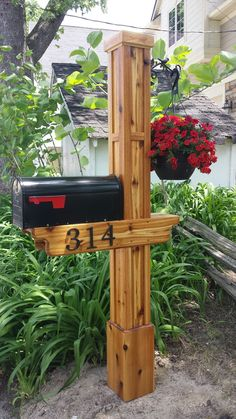 Trendy Mailbox Design Ideas Design Inspiration Mailbox is one of 'often' your guests' first impression. Many of the mailbox designs are highlighted by various kinds of decoration. These trendy mail. Cedar Mailbox Post, Mailbox Garden, Wooden Mailbox, Diy Mailbox, Mailbox Landscaping, Mailbox Ideas, Mailbox Designs, Landscaping Ideas, Brick Mailbox