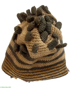 Bamileke Royal Hat with Fingerlings, Cameroon Africa - Hats & Headdresses - Textiles
