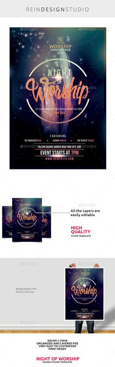 Night of Worship  Flyer PSD Template • Only available here ➝ https://graphicriver.net/item/night-of-worship/14720020?ref=pxcr