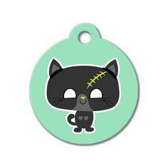 Zombie Kitten - Halloween Pet Tag #holidays #dogtagsfordogs #pettags #dogaccessories #dogfashion #dogs #pets #etsy #etsyfinds #zombie #cat #kawaii #halloween
