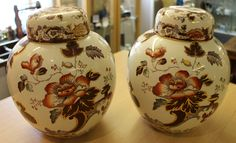 "Pair of ""Brown Velvet"" Mason's ginger jars. Full markings to base. Good condition, no damage or restoration. Overall height measures 9 inches. Top diameter measures 3.5 inches."