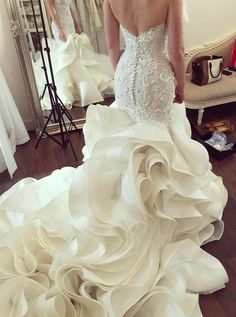 Wedding Dress Lace Mermaid Wedding Dresses, 2019 Wedding Dresses, Lace Wedding Dresses - Discount Cute 2019 Wedding Dresses Mermaid Sweetheart Court Train Tiered Organza Wedding Dress With Lace Wedding Dress Organza, Wedding Dresses 2018, Perfect Wedding Dress, Bridal Dresses, Lace Wedding, Dress Lace, Autumn Wedding, Wedding Themes, Wedding Ideas