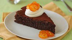Glutenvrije chocoladetaart met mandarijn