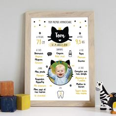 Affiche 1er anniversaire - thème chat Diy Hacks, Packaging Design, Birthday, Frame, Party, Handmade, Mini, Printables, Year Anniversary Gifts