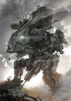 """The Shock Commando"" by M. Dipo (NOMANSNODEAD) | #SciFi #Mecha"