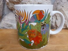 Laurel Burch mug 1989 The Secret Garden by TheFurKidsStore on Etsy