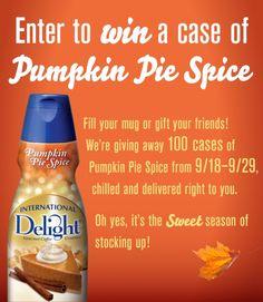 FACEBOOK FREEBIE $$ Enter to Win 1 of 100 FREE Cases of International Delight Pumpkin Pie Spice Creamer!