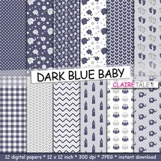 """Buy Baby digital paper: """"DARK BLUE BABY"""" with elephants, foot print, hearts, rattles, baby bottles, owls, gingham, polka dots in blue and grey by clairetale. Explore more products on http://clairetale.etsy.com"""