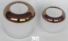 Wazon świecznik szklany szlifowany z miedzianym paskiem h-21