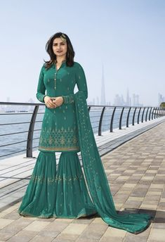 Buy Prachi Desai Turquoise Green Embroidered Sharara Suit online, SKU Code: This Green color Party sharara suit for Women comes with Embroidered Faux Georgette. Shop Now! Latest Designer Sarees, Designer Dresses, Designer Wear, Bollywood Dress, Pakistani Dresses, Prachi Desai, Suits For Women, Clothes For Women, Sharara Suit