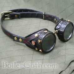 02b32c059ed Steampunk Goggles of the Red Thread Steampunk Clothing