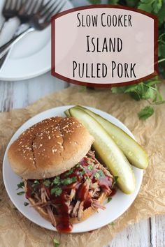 Easy crock-pot dinner! This Slow Cooker Island Pulled Pork recipe makes incredibly delicious pulled pork sandwiches! Plus - tips for making healthier pulled pork!