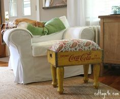 Vintage soda crate footstool ottoman foot stool