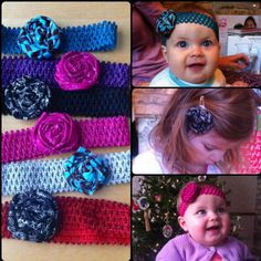 Rosette headbands and clips I made for our nieces for Christmas.