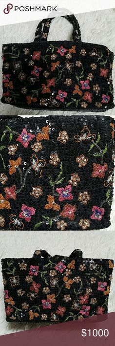 "Vintage 90's Pierre Urbach Neimans silk beaded bag From Neiman Marcus in the 90's! (no longer sold at Neiman's) Floral design embroidered and hand beaded against black sequins. Silk lined, magnetic flap closure. Small inside pocket. Excellent condition! 8""l x 5.25""h x 3.5""w, 4.5"" strap drop. Perfect addition for collectors and functional for use! Pierre Urbach Bags"