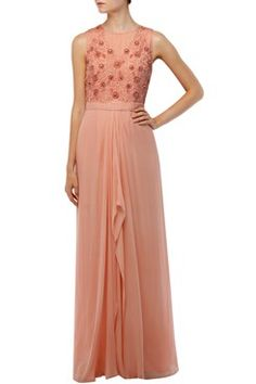 Featuring a peach-pink draped saree gown in silk georgette with beads, crystals and sequin hand embroidered flowers on bodice. It has pleat detailing at waist and back zip closure. Shop now on www.carmaonlineshop.com #carma #carmaonlineshop #AmitGT #designer #luxury #embellished #white #peach   #style #fashion #dress #love #shopnow #agtbyamitgt #loveit #fashion #cocktaildress #dress #gown #redcarpet #justin #newlove #indianfashion #modern #fairytale #dreamy #shopnow #onlineshopping #luxury