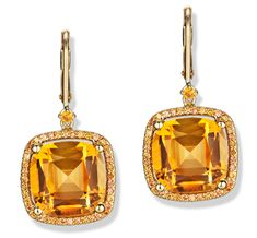 Color Candy Citrine and Orange Sapphire Cushion Frame Earrings in Yellow Gold by Jane Taylor