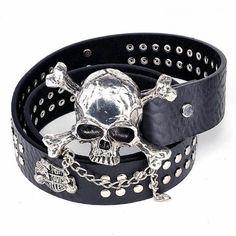 Black Skull Studded Punk Rock Rocker Scene Fashion Belt Clothing Wear SKU-71107047
