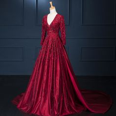 SML New Charming 2016 Burgundy Red Open Back Long Sleeves Lace Applique Beading V Neck Formal Evening Dresses For Wedding Party Evening Dresses With Sleeves, Evening Dresses Online, Evening Dresses For Weddings, Cheap Evening Dresses, Evening Gowns, Bride Dresses, Red Wedding Gowns, Gorgeous Prom Dresses, Pretty Dresses