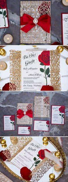 Beauty and the Beast Wedding Invitations - Disney Fairytale Weddings | A Princess Inspired Blog #weddinginvitation
