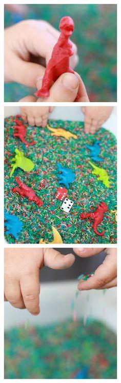 Dinosaur Sensory Bin Great for Preschool math, addition and counting!
