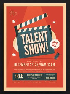 Talent Show Event Flyer by Guuver on Envato Elements Page Layout Design, Poster Design Layout, Graphic Design Brochure, Font Design, Event Poster Design, Design Typography, Creative Poster Design, Creative Posters, Graphic Design Posters
