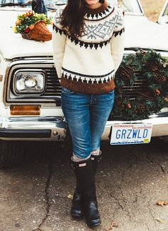 Sweater: J.Crew   (30% off) Jeans: Current/Elliott  Boots: Hunter Bag: Tory Burch  ℅ (30% off) Watch: Tory Burch  ℅ Sock...