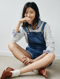 madewell adirondack shorts overalls worn with the leftbank sweater, flannel ex-boyfriend shirt + orson loafer.