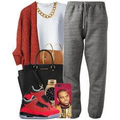 ➛ i would wear this cute and simple look to school but instead of with grey sweats , i'd wear grey leggings . in my opinion baggy pants wouldn't look right with those j's .