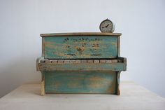Vintage Toy Piano // 1950 French Wooden Doll Prop // Teal Aqua Kids Children // Christmas Gift Idea on Etsy, $60.00