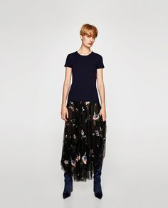 ZARA - WOMAN - EMBROIDERED TULLE SKIRT