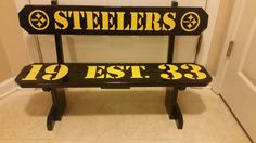 Solid Wood Decorative Pittsburgh Steelers  Bench Man Cave Rec Room Kids Room Den Office