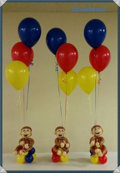 Curious George Party, Curious George Birthday, 1st Boy Birthday, 3rd Birthday Parties, Party Themes, Party Ideas, 1st Birthdays, Party Planning, Balloons