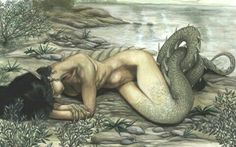 A nixie, also known as a melusine, is a shape-shifting fairy that inhabits fresh-water springs and rivers. Nixies usually present themselves in half human half animal form, the animal half being ty… Mythical Creatures, Sea Creatures, Dragons, Water Fairy, Danse Macabre, Mermaids And Mermen, Merfolk, Faeries, Folklore
