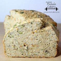 Prot: 20 g, Carbs: 14 g, Fat: 5 g, Cal: 176 -- A delicious, superfood-packed, gluten-free protein bread! Super Seed Protein Bread by Andréa's Protein Cakery.