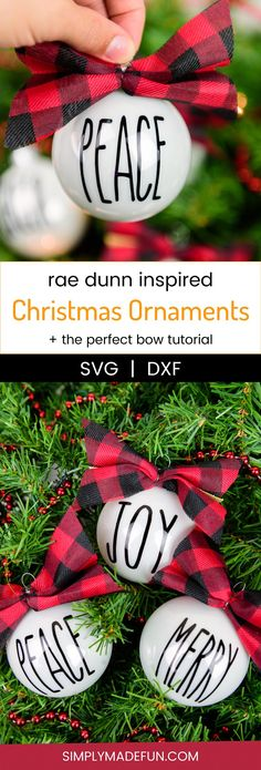 Rae Dunn Inspired Christmas Ornaments - Make yourself a handmade holiday with Rae Dunn inspired Christmas ornaments! Use your Silhouette Machine and permanent vinyl to create a simple rustic look to your Christmas tree this year. via @simplymadefun