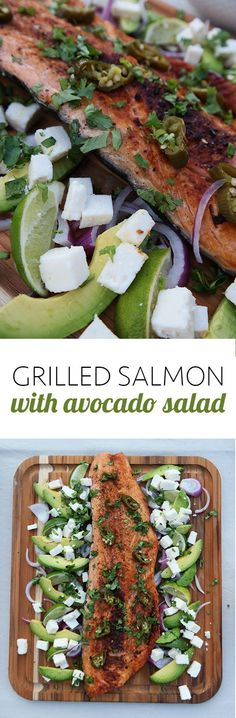Tips for grilling the perfect salmon and how to dress it up with an amazing avocado salad. Perfect for summer parties.