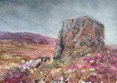 Boulder study watercolour Ramshaw Rocks original by Tanglewood761