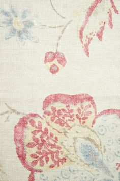 Fleurs de Provence Linen Fabric Neutral Linen fabric with floral print of muted reds and Blues. A beautiful gentle floral fabric suitable for curtains, cushions and upholstery.