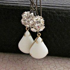 Rhinestone Ball Earrings Glass White by laurenblythedesigns, $26.00